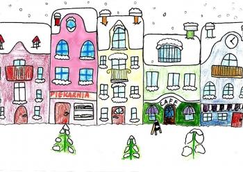 Dominika Grzechnik kl. VIa Zimowy krajobraz miejski