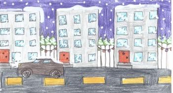 Julia Fidala kl. VIa Zimowy krajobraz miejski
