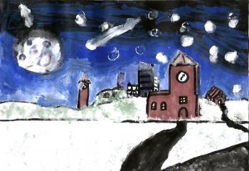 Karol Kazimierski kl. VIc Zimowy krajobraz miejski